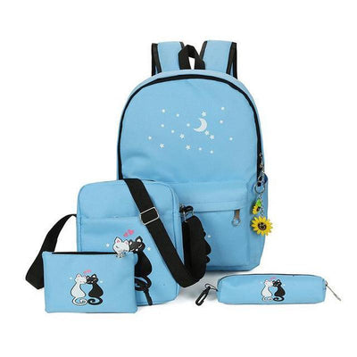 4pcs Cute Cat Canvas Backpack-Backpacks-FreakyPet
