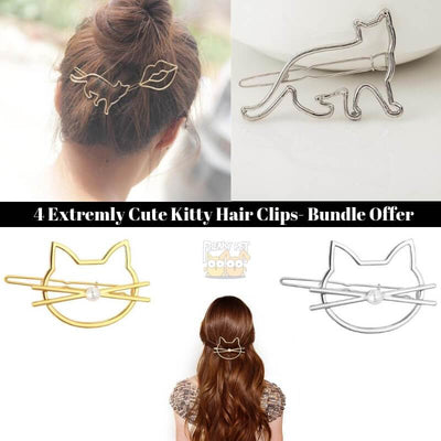 4 Extremely Cute Kitty Hair Clips (Bundle Offer)