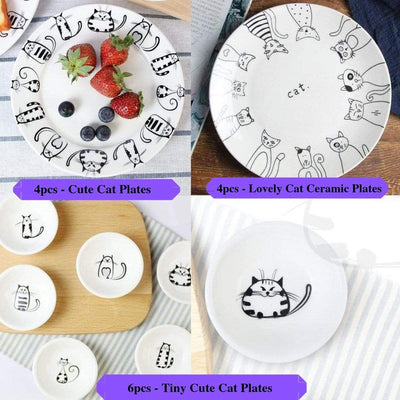 Cute Cat Ceramic Plate Sets-FreakyPet