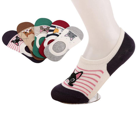 5 Pair Cute Cat Sneaker Socks