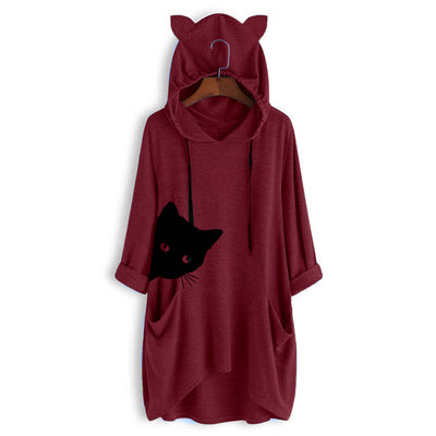 Peeking Cat Oversize Hoodie With Cat Ears