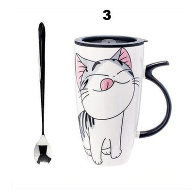 Large 600 ml Cute Ceramic Cat Mug-FreakyPet