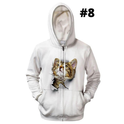 3D Double Side Printed Cute Cat Hoodie Jackets-Hoodies & Sweatshirts-FreakyPet