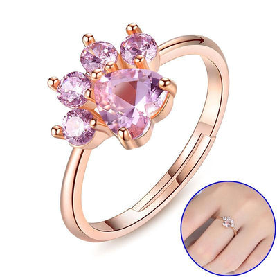 925 Sterling Silver Rose Gold Cat Paw Ring-Rings-FreakyPet