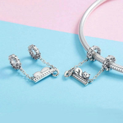 925 Sterling Silver Cute Kitty Charm + Bracelet