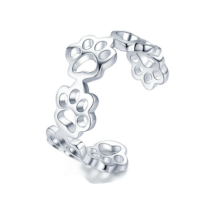 ADJUSTABLE 925 STERLING SILVER DOG FOOTPRINT RING-FreakyPet
