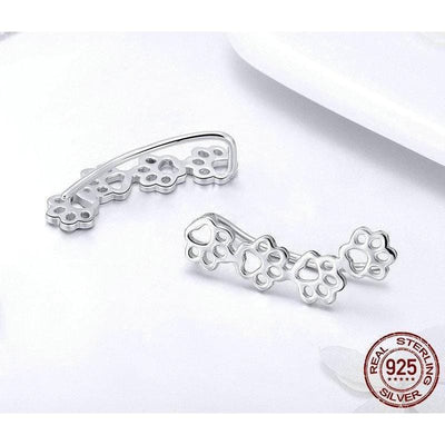 925 Sterling Silver Dog Footprint Earrings