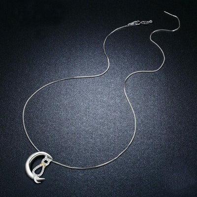 925 Sterling Silver Moon Cat Necklace-FreakyPet