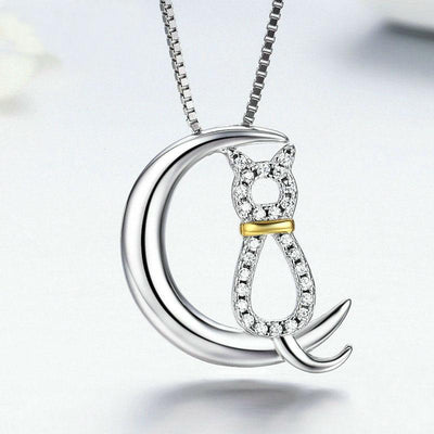 925 Sterling Silver Moon Cat Necklace-Pendant Necklaces-FreakyPet