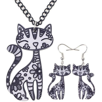 Corinna Cat 2pc Jewelry Set new-Jewelry Sets-FreakyPet