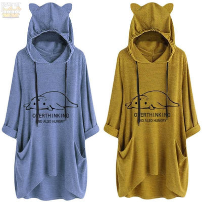 Overthinking And Also Hungry Oversize Hoodie With Cat Ears-Home-FreakyPet