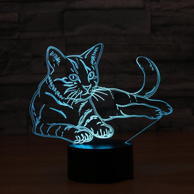 3D LED Color Changing Cat  Table Lamp