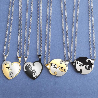 Yin Yang Cat Pendant Couple Necklace-FreakyPet