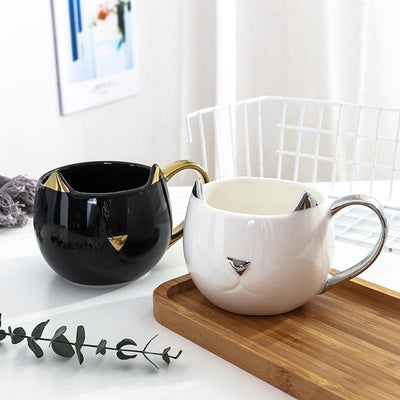 Classical Glamorous Cat Ceramic Mug-Mugs-FreakyPet