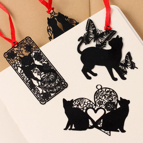 Black Kawaii Cat Book Markers