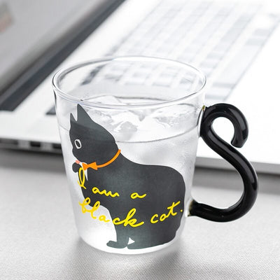 Curly Tail Cat Glass Mugs-FreakyPet