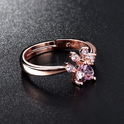 Adorable Cat Claw Pink Crystal Ring