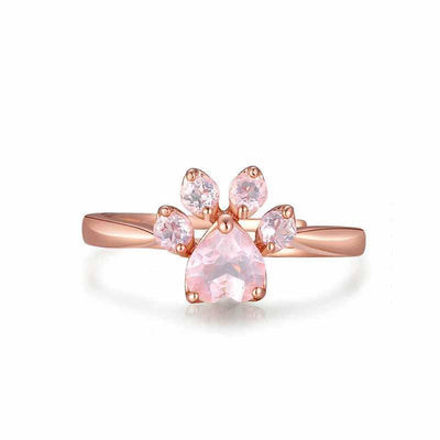 Rose Gold Plated Cat Paw Ring-Rings-FreakyPet