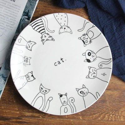 4pc Lovely Cat Ceramic Plates-FreakyPet