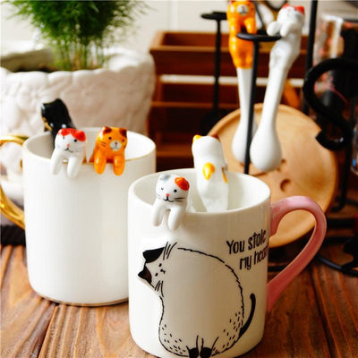 5pcs Handmade Ceramic Hanging Cat Spoons