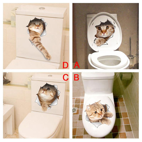 3D Cat Funny Toilette Sticker