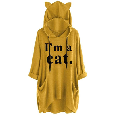 I Am Cat Oversize Hoodie With Cat Ears-FreakyPet