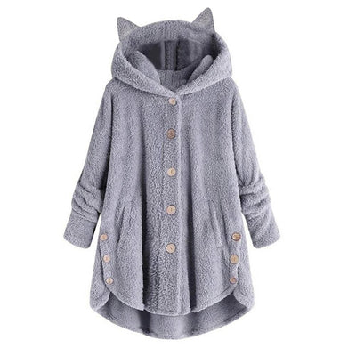 Cute Cozy Fleece Coat With Cat Ears Hoodie-FreakyPet