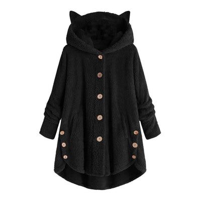Cute Cozy Fleece Coat With Cat Ears Hoodie