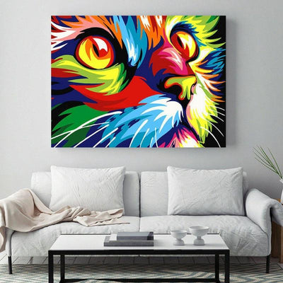 Colorful Cat Pop Art Canvas Painting-Painting & Calligraphy-FreakyPet