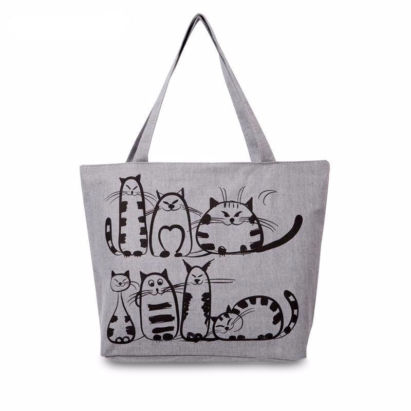 423bb6abf3 Canvas Cat Shopping Bag-Shoulder Bags-FreakyPet. Sale