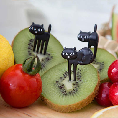6pcs Black Cat Fruit Fork-Forks-FreakyPet