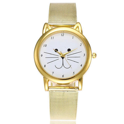 Golden Cat Ear Wrist Watch-Women's Watches-FreakyPet