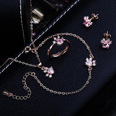 4pcs Silver Rose Gold Cat Paw Jewelry Set-Home-FreakyPet