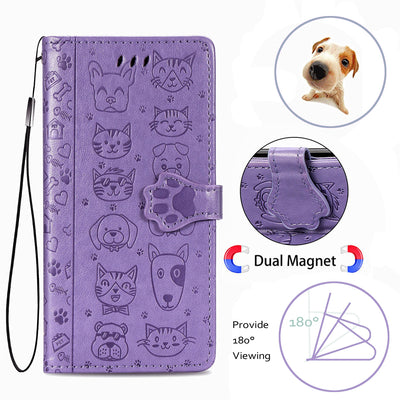 Flip Leather Cat & Dog Embossed iPhone Case-FreakyPet