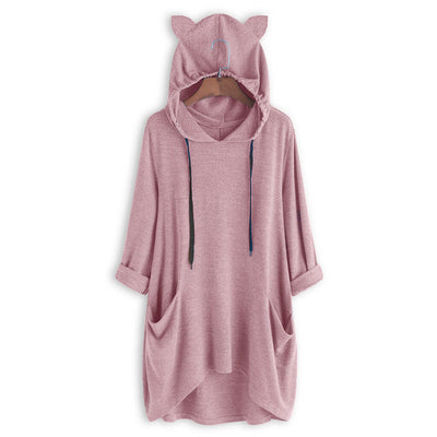 Pure Color Oversize Hoodie With Flappy Cat Ears-FreakyPet