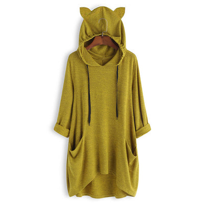 Pure Color Oversize Hoodie With Flappy Cat Ears