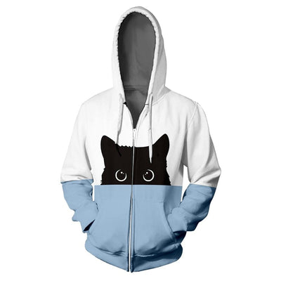 Unisex Peek A Boo Bi Color Cat Hoodie-FreakyPet