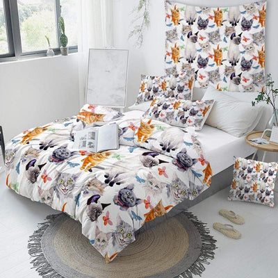 Artful Cats Print Bedding Set-Home-FreakyPet