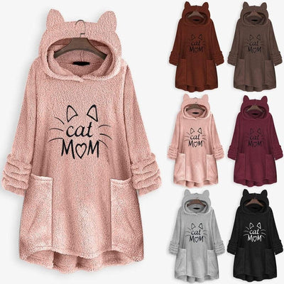 Cat Mom Fleece Oversize Hoodie With Cat Ears-Home-FreakyPet