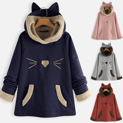 Cat Whisker Fleece Hoodie With Pouch & Cat Ears