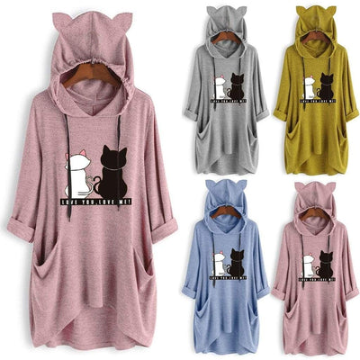 LOVE YOU LOVE ME Cat Print Oversize Hoodie With Cat Ears-FreakyPet