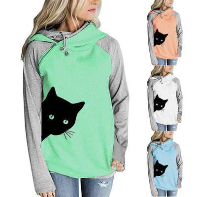 Black Cat Bi-color Oversize Hoodie