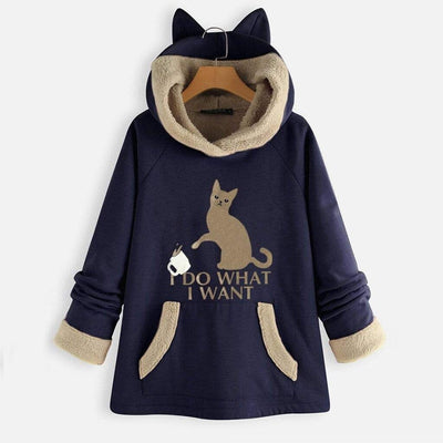 I DO WH4T I W4NT Fleece Hoodie With Pouch & Cat Ears-FreakyPet