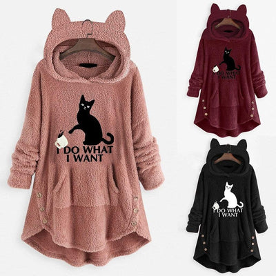 I D0 WH4T I W4NT Fluffy Fleece Hoodie With Pouch And Buttons-FreakyPet