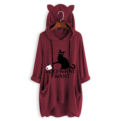I D0 WH4T I W4NT Oversize Hoodie With Cat Ears