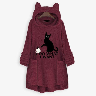 I D0 WH4T I W4NT Fluffy Fleece Oversize Hoodie With Cat Ears-FreakyPet