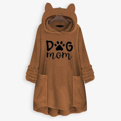 Dog Mom Fleece Oversize Hoodie With Flappy Ears-FreakyPet