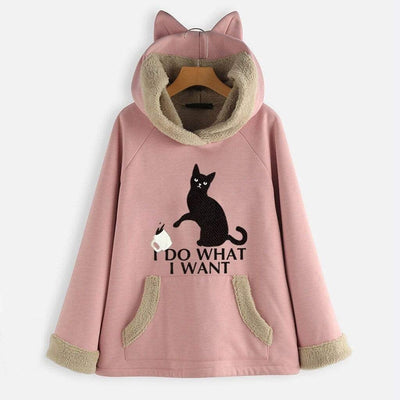 I DO WH4T I W4NT Fleece Hoodie With Pouch & Cat Ears