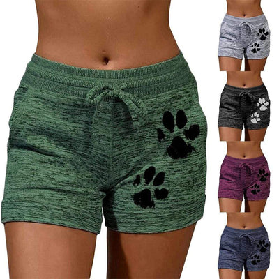 Casual Dog Paw Quick Dry Lace Up Shorts-FreakyPet