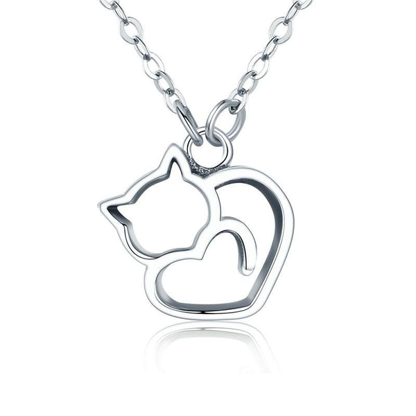 Platinum Plated 925 Sterling Silver Cat Heart Necklace